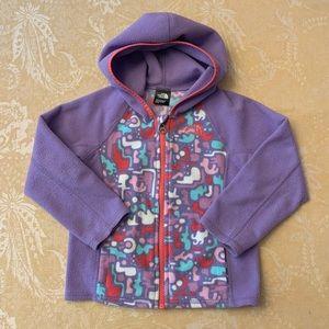 North Face Zip Front Fleece Jacket Purple Girls 4T